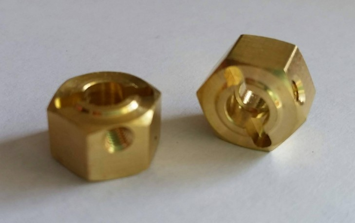 (2 pcs) Brass 12mm x 6mm Hex